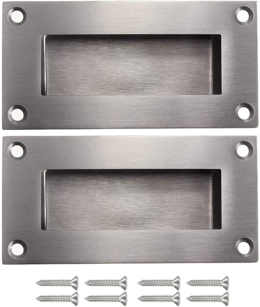 NewZC Paquete de 2 Empotrado Empotrado Rectángulo deslizante Tiradores de puerta Tiradores ocultos de acero inoxidable cepillado satinado Tiradores ocultos – Plata