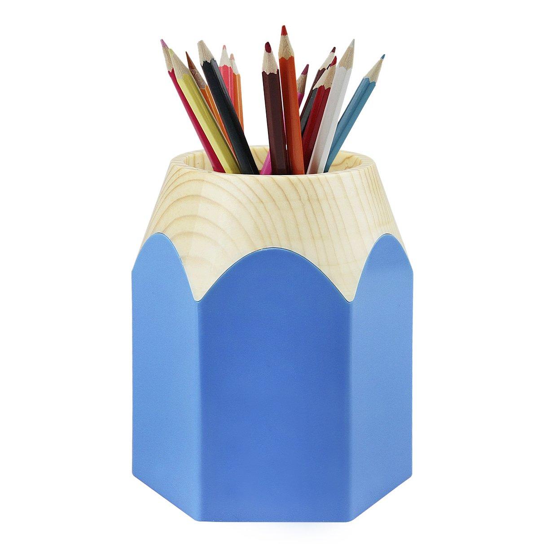 丸型プラスチックセメントペンホルダー 安定した鉛筆カップポット ペンオーガナイザー 鉛筆の先の形をしたペンスタンド オフィスストレージ デスクトップ 文房具 学校用キャディー デスクアクセサリー 新学期ギフト Mサイズ  ブルー B07MNZJZYM