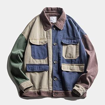 EIVCXNEFD Retro Coloring Vestidos Chaquetas Hombres Primavera Otoño Marea Hombres Americano Casual Chaqueta BF Viento Trend Coat Hombre: Amazon.es: Deportes ...