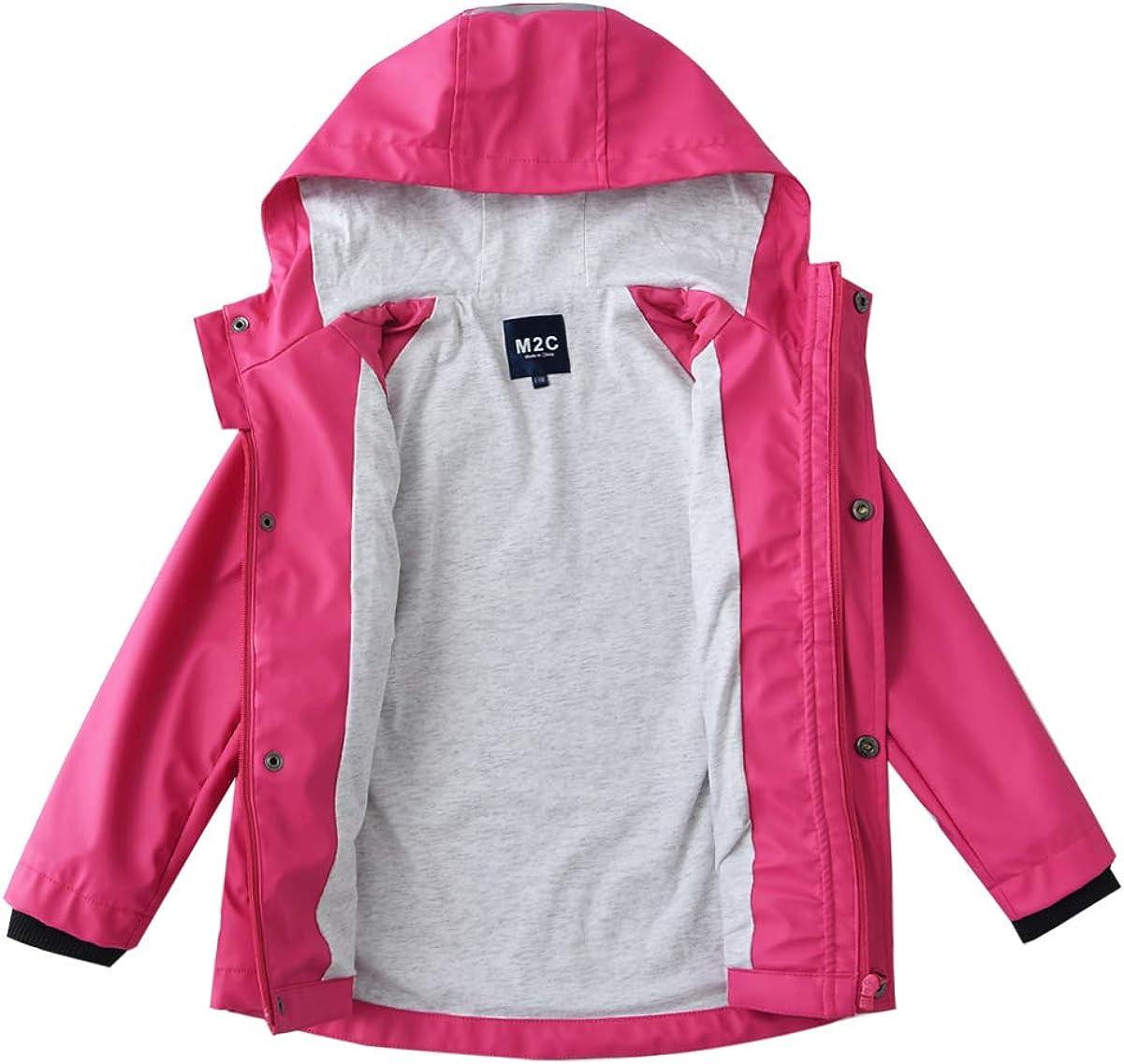 M2C Boys Girls Cotton Lined Waterproof Rain Jacket Hooded Windproof Raincoat