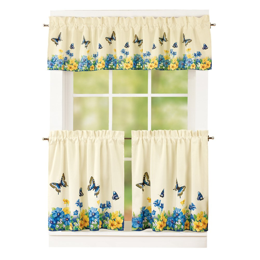 """Collections Etc Vintage Spring Butterfly and Flowers 2 Tier Kitchen Cafe Curtain Set, Rod Pocket Top, Blue, 36"""" L Tiers"""