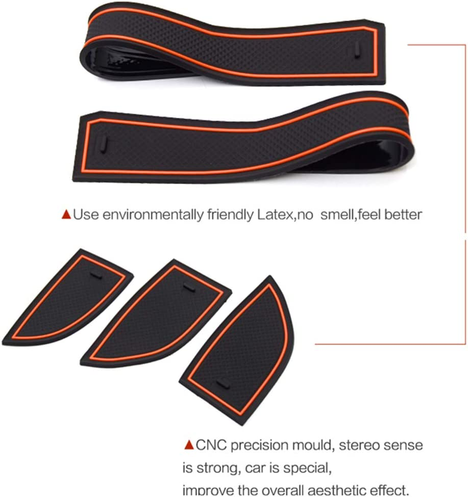 Tuqiang For Evoque 2012-2015 Door Slot Pad Car Interior Door Cup Cushion Mat Gate Slot Storage Pad Non-Slip Dust-proof 8Pcs