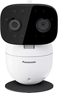 Panasonic Video Baby Monitor with Remote Pan/Tilt/Zoom, Extra Long Audio/Video Range, 2 Way Talk and Lullaby or Noises - KX-HNC301W (White)