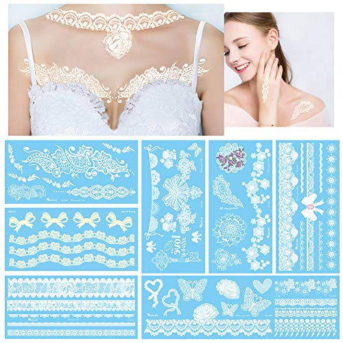 White Temporary Tattoos Large Fake Flash Lace Designs
