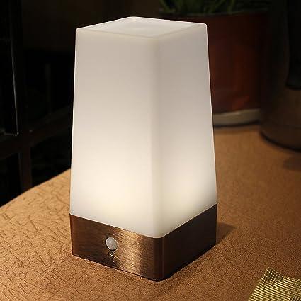 Lixada Lámpara de Mesa LED Sensor de Movimiento Luces de Noche Dormitorio Iluminación Decoración