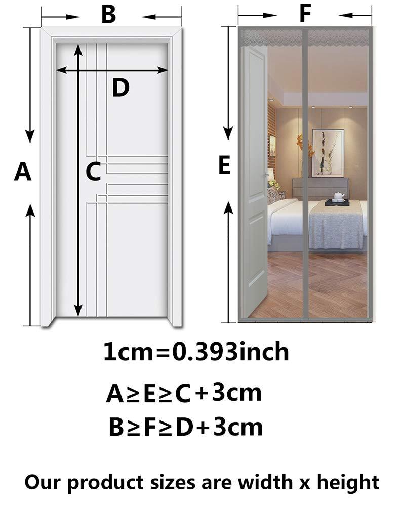 28x63inch DelongKe Moustiquaire De Porte Magn/étique Rideau Anti Mouche Fermeture Automatique Maille,Magnetic Screen Door for Metal Door Frame,Noir,70x160cm