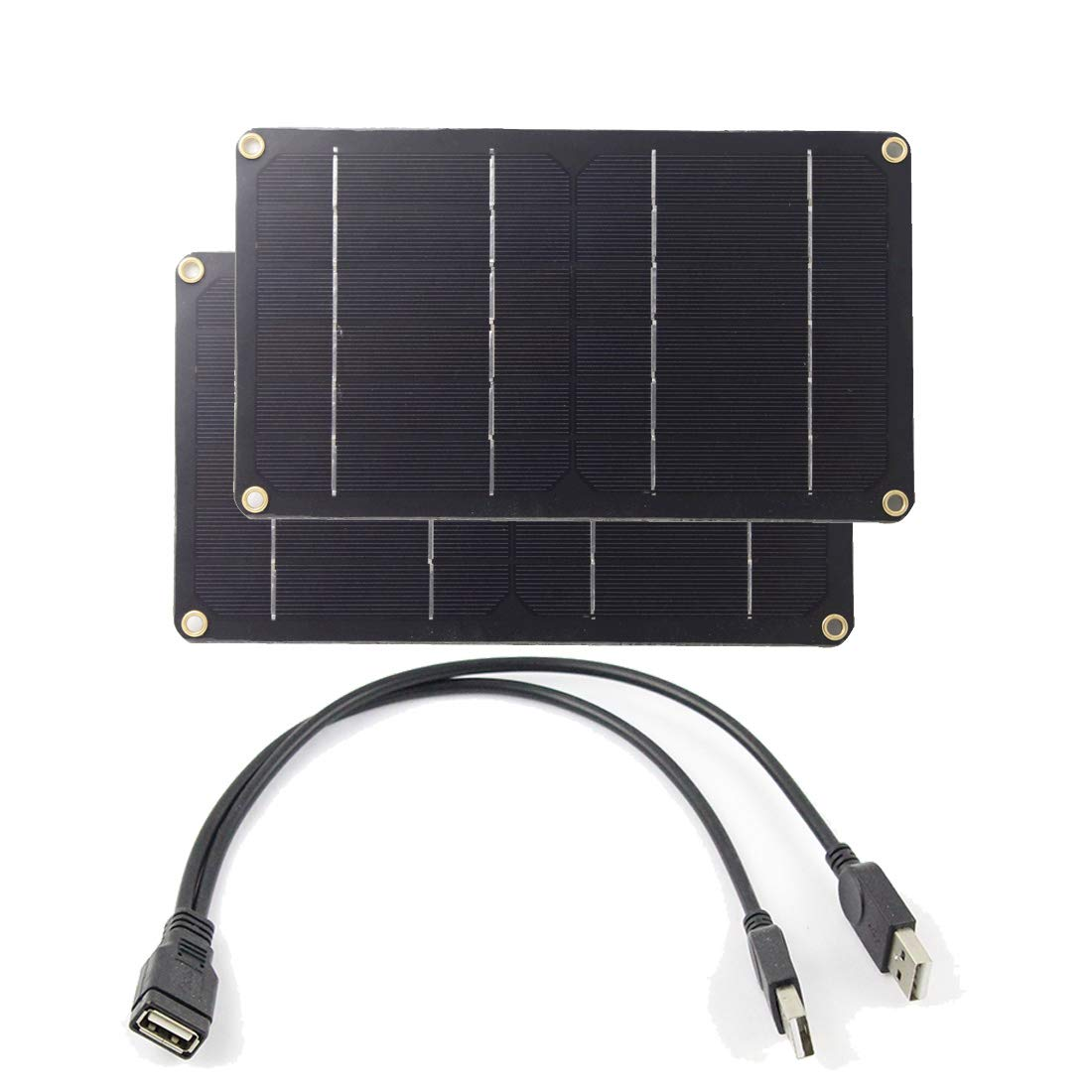 SHIERLING 2pcs 6V 6W 1A Semi Flexible Solar Panel Monocrystalline Silicon Module Cell DIY Kit Outdoor Charger Black 2 in 1 USB Cable for Car Recorder Mobile Phone Camping Hiking Travel Power Charging