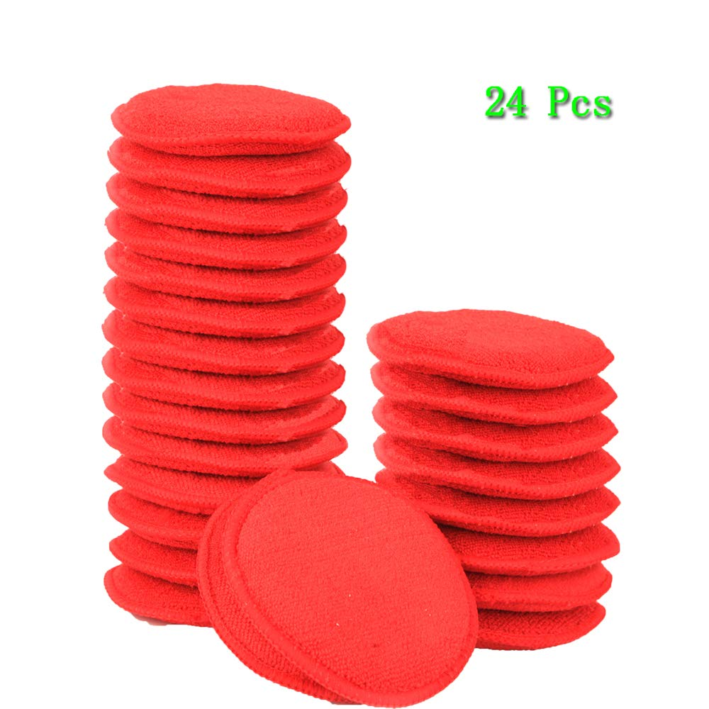 CARCAREZ Microfiber Foam Car Wax Applicator Pad for Hand Polish, Red, Pack of 24