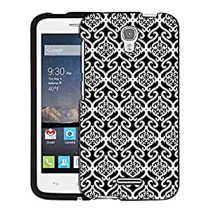 Alcatel OneTouch Pop Astro Case, Snap On Cover by Trek Victorian Scroll Floral White on Black Case