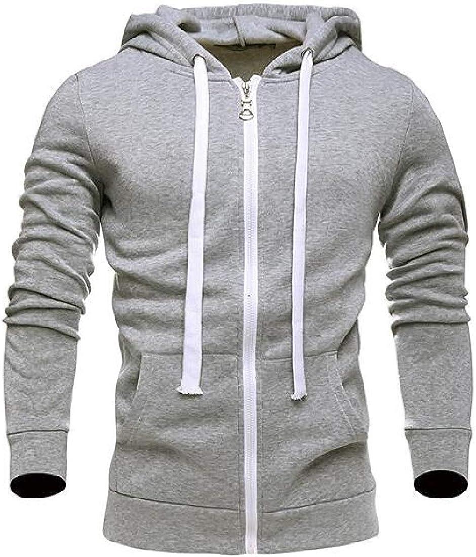 Men Zip Up Jacket Cotton Solid Hooded Thicken Cardigan Sweatshirt Coat,Light Grey,Large