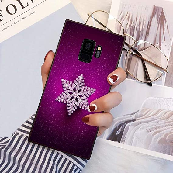 Amazon Com Pingge Samsung Galaxy S9 Case Snow Flake Purple Background Rectangle Full Body Shockproof Protective Case Black Frame Case For Samsung Galaxy S9