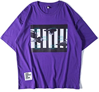 T-Shirt Short-Sleeved, Purple T-Shirt Female Japanese Retro Half-Sleeved Youth Short-Sleeved Men's Half Sleeves,XL