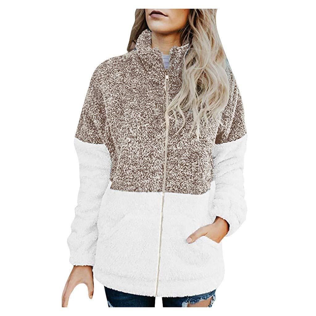 GDJGTA Cardigan for Womens Autumn Winter Casual Stitching Contrast Zipper Pocket Plush Jacket