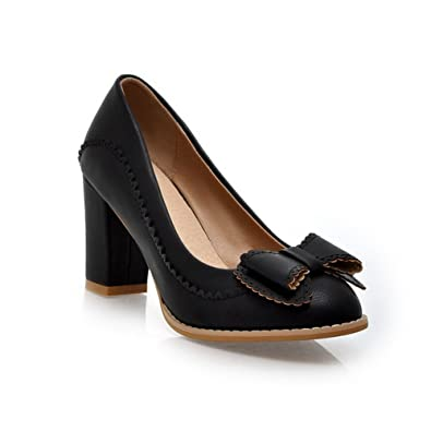 a2dabb08074 AmoonyFashion Womens Closed Round Toe Kitten Heel Chunky Heels PU Soft  Material Solid Pumps with Bowknot