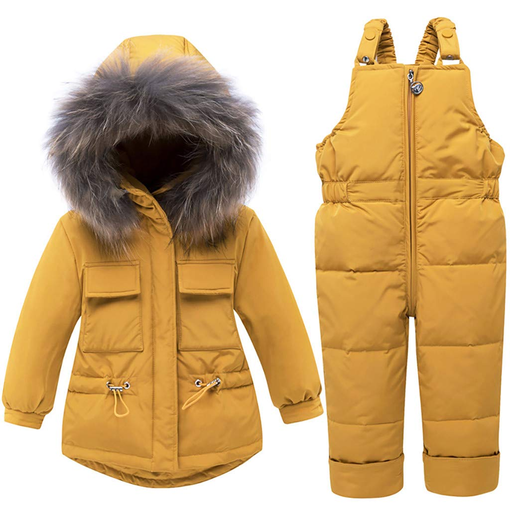 Yousity Newborn Infant Toddler Baby Boys Girls Winter Cute Thick Warm Hooded Down Jacket Coat+Ski Bib Pants Outfits Set Yellow by Yousity Baby Clothes
