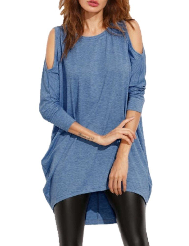 Haola Women's Cold Shoulder Off T-Shirt Dress Loose Fit Long Sleeve Long Tees XL Blue