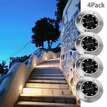 Luces de Tierra Solares para Exterior 8 leds, Solar Led Jardin ...
