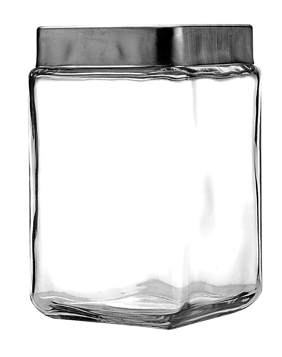 Anchor Hocking 1.5-Quart Stackable Jars with Brushed Aluminum Lid, Set of 6