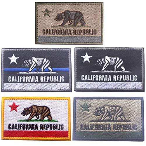 America California Republic CA State Flag Tactical Morale Patches 5 Pcs ()