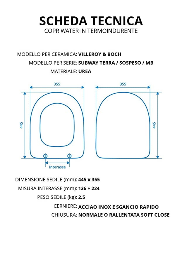 Villeroy /& Boch Serie Subway 9M55S101 Sedile a Chiusura rallentata Finitura Bianco Alpin