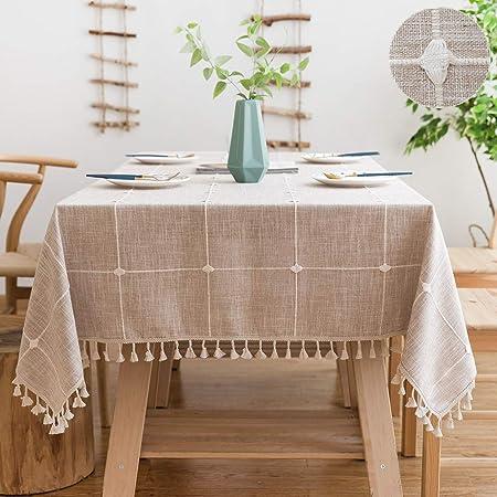 Sunbeauty Mantel Rectangular Antimanchas Algodon Lino con Borlas Empalmado Table Cloth Rectangle Tablecloth para Mesa de Comedor - 140x180cm: Amazon.es: Hogar