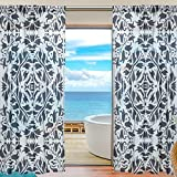 SAVSV Window Sheer Curtains Panels Voile Drapes Morden Dark Blue Retro Floral Design 55'' W x 78'' L 2 Panels Great For Living Room Bedroom Girl's Room