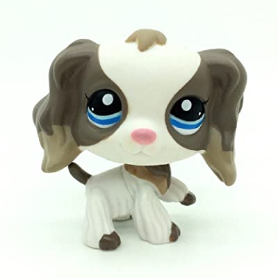 Littlest Pet Shop #2254 White Grey Cocker Spaniel Dog Blue Eyes Animal LPS: Toys & Games