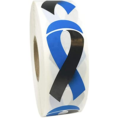 Black and Blue Awareness Ribbon Stickers 2 Inch 500 Adhesive Stickers: Arts, Crafts & Sewing