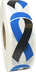 Black and Blue Awareness Ribbon Stickers 2 Inch 500 Adhesive Stickers