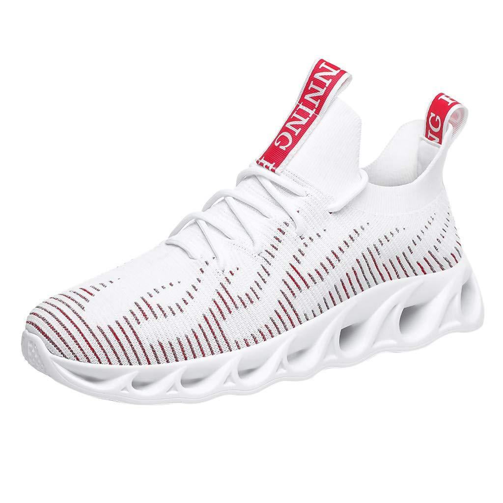 Street Sneakers Men Work Sneakers ✔ Men's Summer Breathable Sneakers Lightweight Non-Slip Soft Bottom Running Shoes White