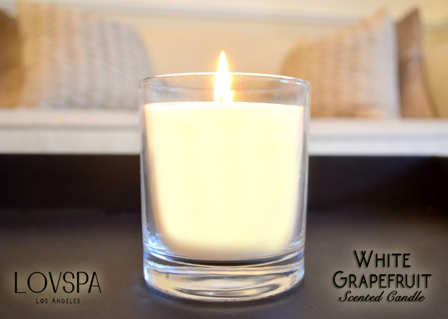 LOVSPA White Grapefruit Aromatherapy Candle | Tart Pomelo Grapefruit, Lily of The Valley & Coriander Blossom | Natural & Long-Lasting | Made in The USA