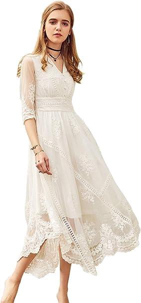 Amazon.com: Artka vestido de novia de encaje bordado maxi ...