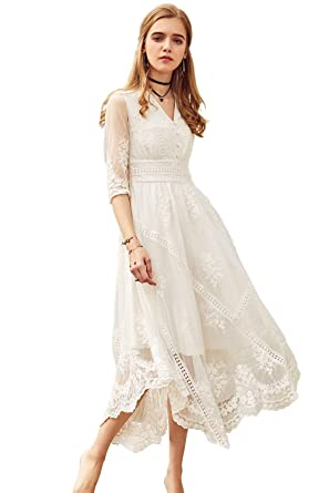 Artka Women S Lace Embroidered Maxi White Wedding Dress With V Neck