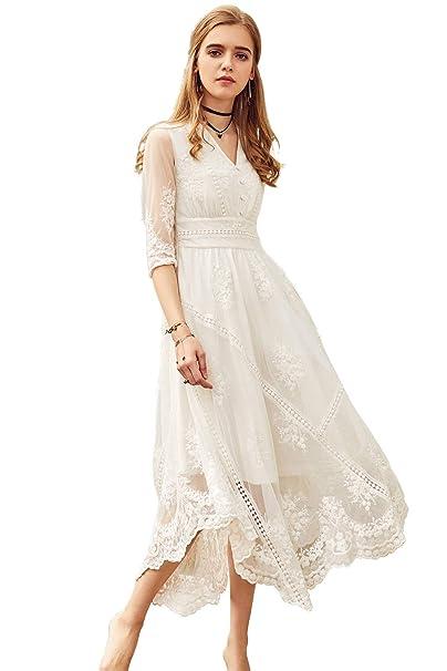 Amazon.com: Artka Vestido de novia de encaje bordado, color ...