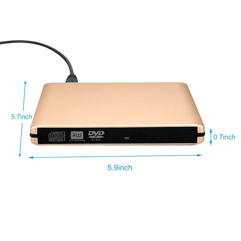 DVD Drive USB 3.0 External CD Drive,Emmako External DVD CD Player & CD DVD +/-RW Writer/Rewriter/Burner High Speed Data Transfer for MacBook/Laptops/Desktops/Notebooks Support Windows 10 (Golden) by Emmako (Image #3)