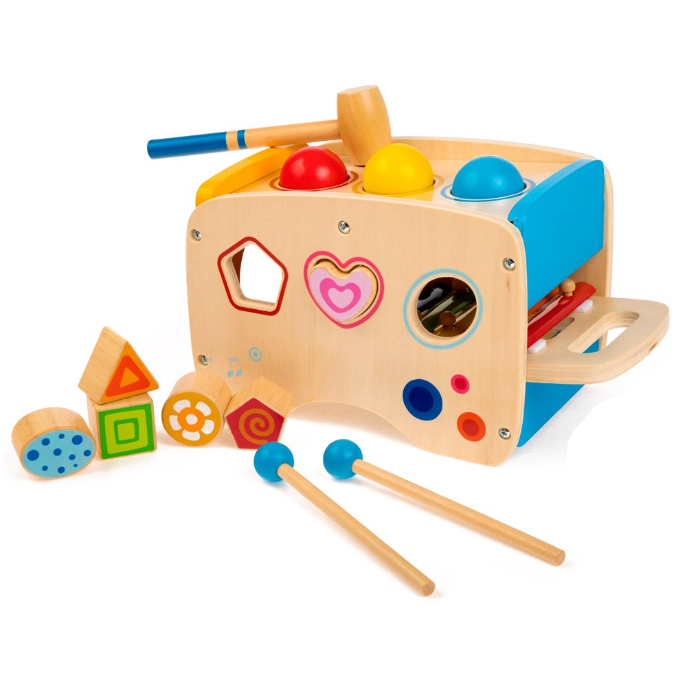 rolimate Wooden Learning Hammering & Pounding Toys + 8 Notes Xylophone + Shape Color Recognition, Best Birthday Gift Toy for Age 1 2 3 Years Old and Up Kid Children Baby Toddler Boy Girl by rolimate (Image #5)