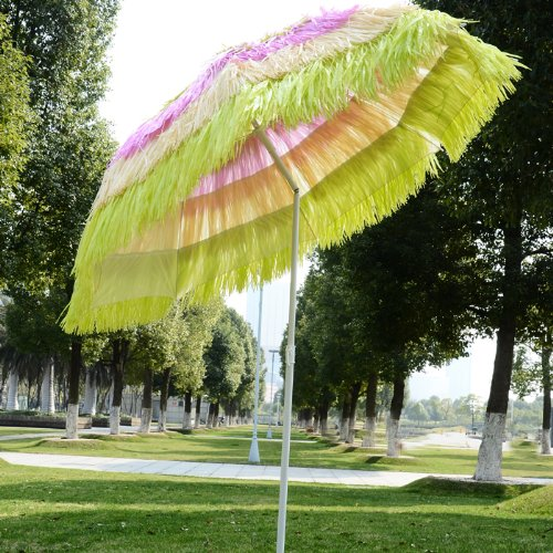 New 6 Ft Diameter Tiki Beach Umbrella Outdoor Patio Tilt Market 8 Ribs Muticolor