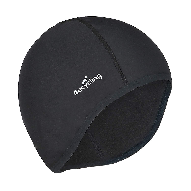 dc98fbafad3b4 4ucycling Skull Cap & Helmet Liner for Cycling Running Beanie Thermal  Fleeced 10% Spandex for Men & Women Black