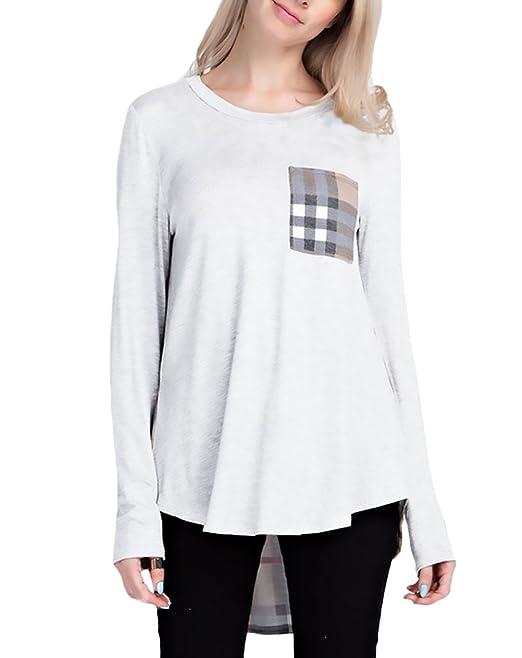 ... Cuello Redondo Blusas Asimetricas Anchas T Shirt Invierno Otoño Casual Moda Patchwork Con Bolsillo Flojo Camisas Blusones: Amazon.es: Ropa y accesorios