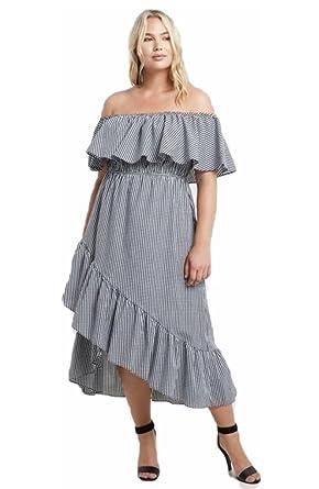 3d05bded460 Plus Black Gingham Dress Wrap Maxi Off Shoulder Ruffle Casual Checker (1X)