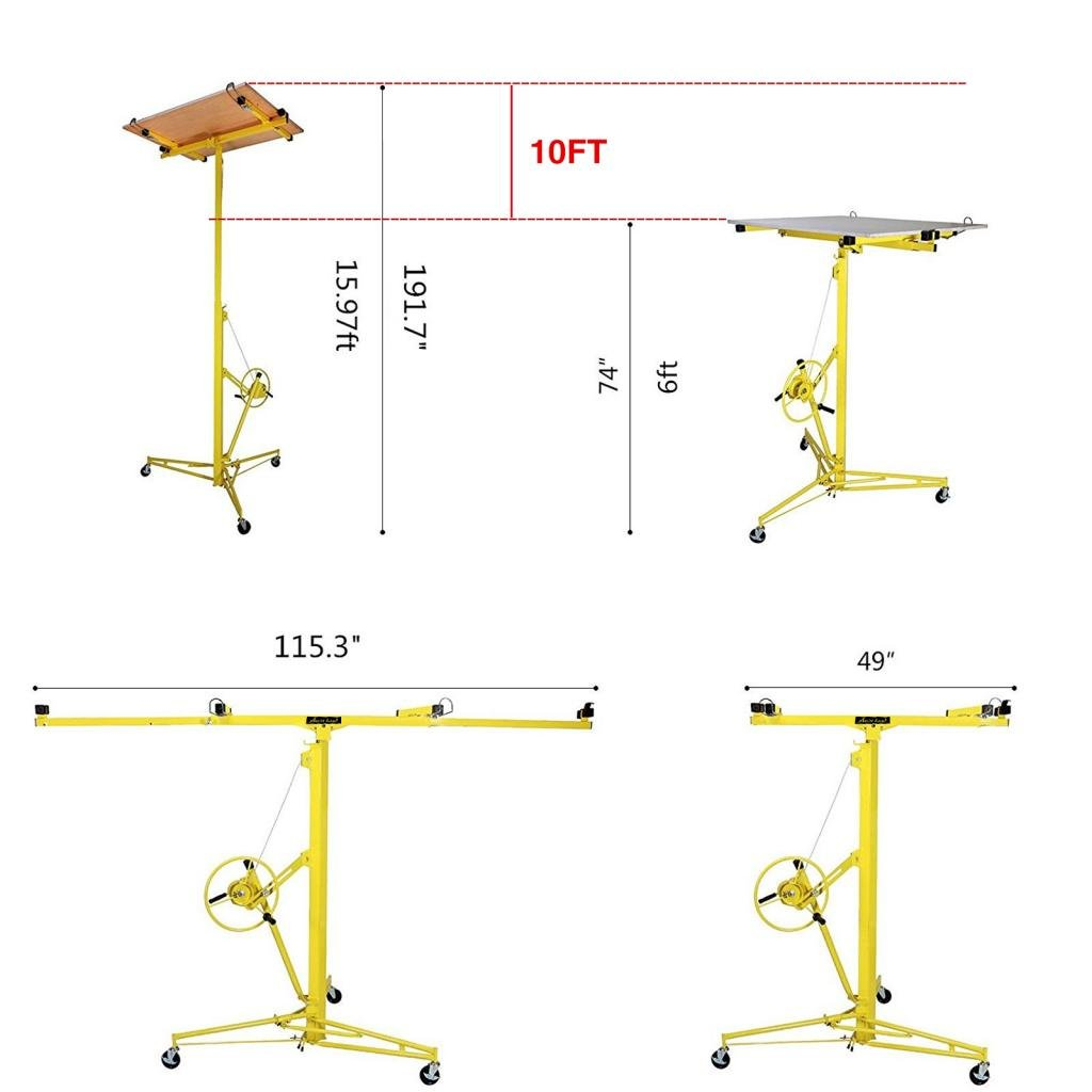 Idealchoiceproduct 16' Drywall Lift Rolling Panel Hoist Jack Lifter Construction Caster Wheels Lockable Tool Yellow by Idealchoiceproduct (Image #7)
