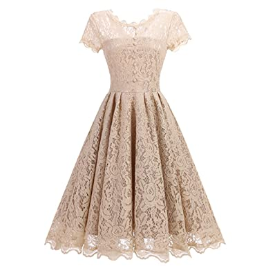 Fashion Story Womens Vintage 1950s Style Lace Flare Swing Formal Dress Apricot XS