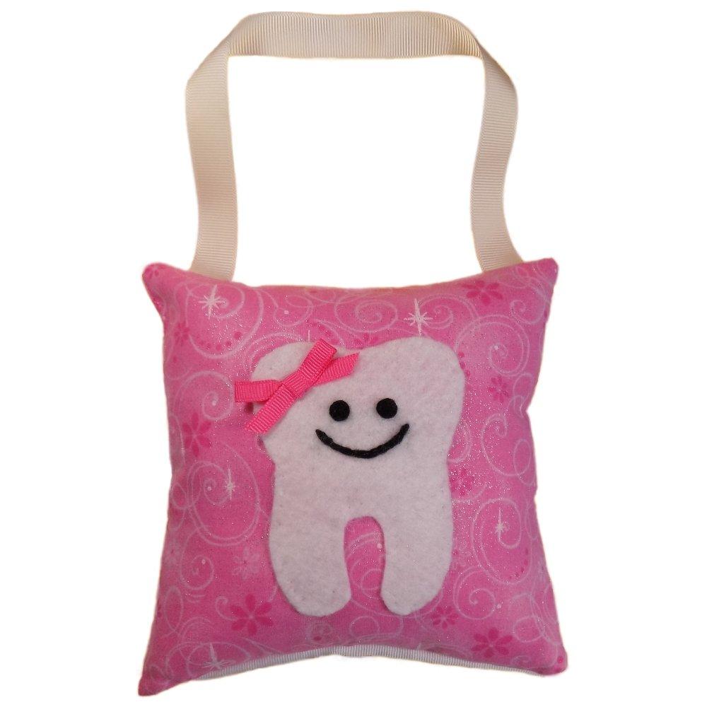 Tooth Fairy Pillow Keepsake, Girl's Flowers, Swirls, Stars. Glitter, and Sparkle Design Print - Pink