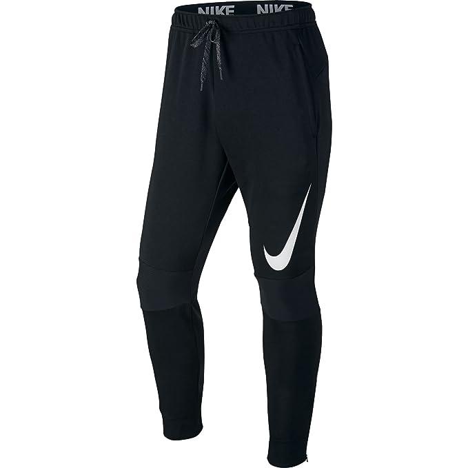 a6d3a964c7341 Amazon.com: NIKE Mens Dri-Fit Cuffed Training Sweatpants Black/White ...