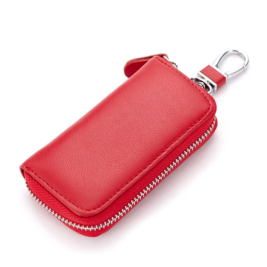 red Car Key Holder Wallet for Men Luxury Genuine Cowhide Keychain Bag with Zipper Perfect Gift for Women//Men Belt Clip PD16