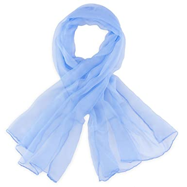 5c7fd1c09f5 Foulard mousseline soie Bleu ciel uni  Amazon.fr  Vêtements et ...