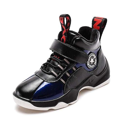 Zapatillas de Baloncesto para niños High High Top de Cuero Genuino para niños Zapatillas de Deporte Ligeras Felpa Cálido Impermeable Antideslizante ...