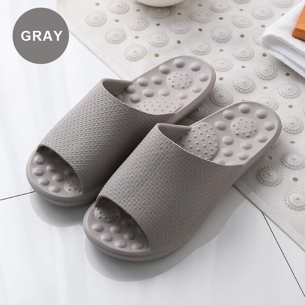 Finleoo Women and Men Bath Slipper Anti-Slip for Indoor Home House Sandal,SL12,Grey,40.41