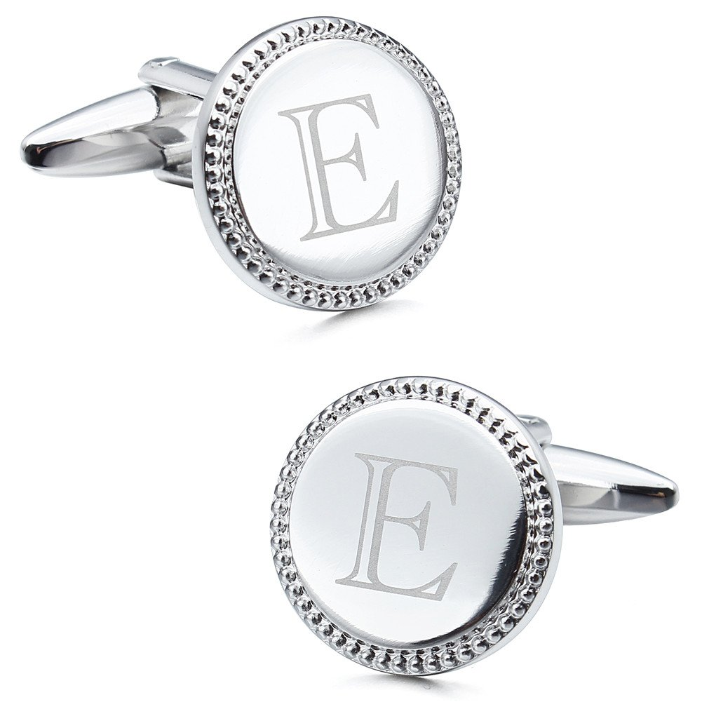 Trendy Round Laser Capital Alphabet 26 Letter Personalize Men Cufflinks for Wedding Bussines Gift (E)
