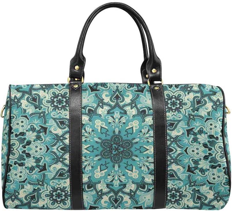 INTERESTPRINT Boho Ornamental Owls Travel Bag Water-Resistant Duffle Bag
